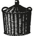 wicker basket isolated on white vector image vector image