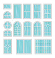 windows 3d flat cartoon set isolated on white vector image