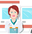woman doctor with ambulance car on background vector image