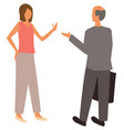 woman talking with bald man isolated people vector image
