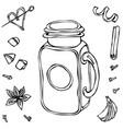 mason drinking jar vintage coctail glass hand vector image