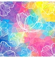 Rainbow triangles with white doodle flowers vector image