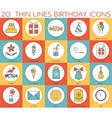 Line icons set of happy birthday collection vector image
