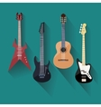 Acoustic and electric guitars set in flat style vector image vector image