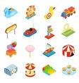 Amusement park isometric 3d icons vector image vector image