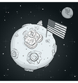 astronaut whit flag usa on moon bw vector image vector image