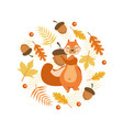 autumn symbols round shape cute squirrel with vector image