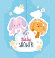 baby shower lion and rabbit in cloud card vector image vector image
