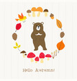 bear with autumn frame card vector image vector image