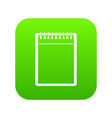 blank spiral notepad icon digital green vector image vector image