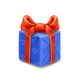 blue gift box with red ribbon and bow vector image vector image