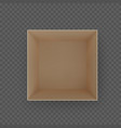 box top view brown empty open cardboard container vector image