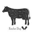 British cuts of beef diagram and butchery design vector image