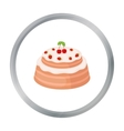 Cake with cherry icon in cartoon style isolated on vector image vector image