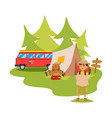 camping van and tent outdoor tourist hiking vector image