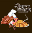 cartoon thanksgiving turkey character in cooking vector image vector image