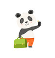 cheerful tourist panda bear with suitcase cute vector image