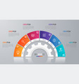 circle chart template for infographics 6 vector image vector image