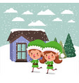couple santa helpers in snowscape vector image vector image