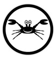 Crab button on white vector image vector image