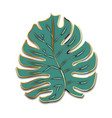 cute green palm leaf with golden outline vector image vector image