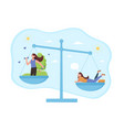 difficult choice between sport and relax time vector image