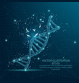 dna form low poly wire frame on blue background vector image vector image
