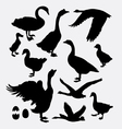 Duck poultry animal silhouette vector image vector image