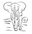elephant drawn contour black coloring vector image vector image