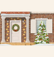entrance house christmas tree vector image vector image