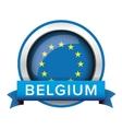 EU flag button with Belgium ribbon vector image vector image