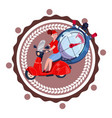 fast delivery service logo woman courier riding vector image
