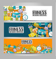 fitness and healthy lifestyle horizontal banner vector image vector image