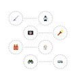 flat icons lighter fishing zoom and other vector image