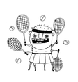Funny freaky tennis player character monster