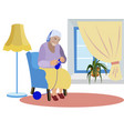 grandmother sits near window and knits clothes vector image vector image