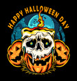 halloween pumpkin with skull shaped candle vector image