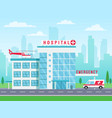 hospital building with ambulance helicopter vector image