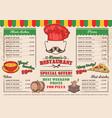 italian restaurant menu a cafe vector image vector image