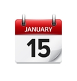 January 15 flat daily calendar icon Date vector image vector image