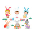 kids and easter eggsbasket with rabbit and easter vector image vector image