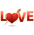 love and heart with arrow vector image vector image