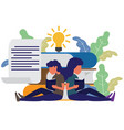 man and woman sitting front big books reading and vector image