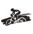mountain biker in full speed vector image vector image