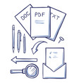 office documents and envelopes sketches set vector image