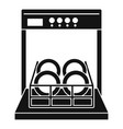 open dishwasher icon simple style vector image