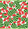 seamless pattern whole pieces watermelon vector image vector image