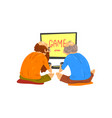 senior men playing video games elderly people vector image