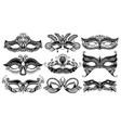 set 9 venetian carnival facial masks mardi vector image