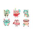 set cartoon stylish owls vector image vector image